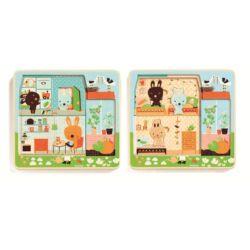 Háromrétegű puzzle _Nyuszi ház - Rabbit cottage