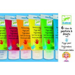 6 színű ujjfesték tubusban, palettával