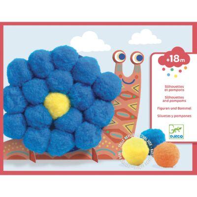 Pompom-kép készítő - Óriás pompom állatok - Djeco kreatív készlet 18 hónapos kortól