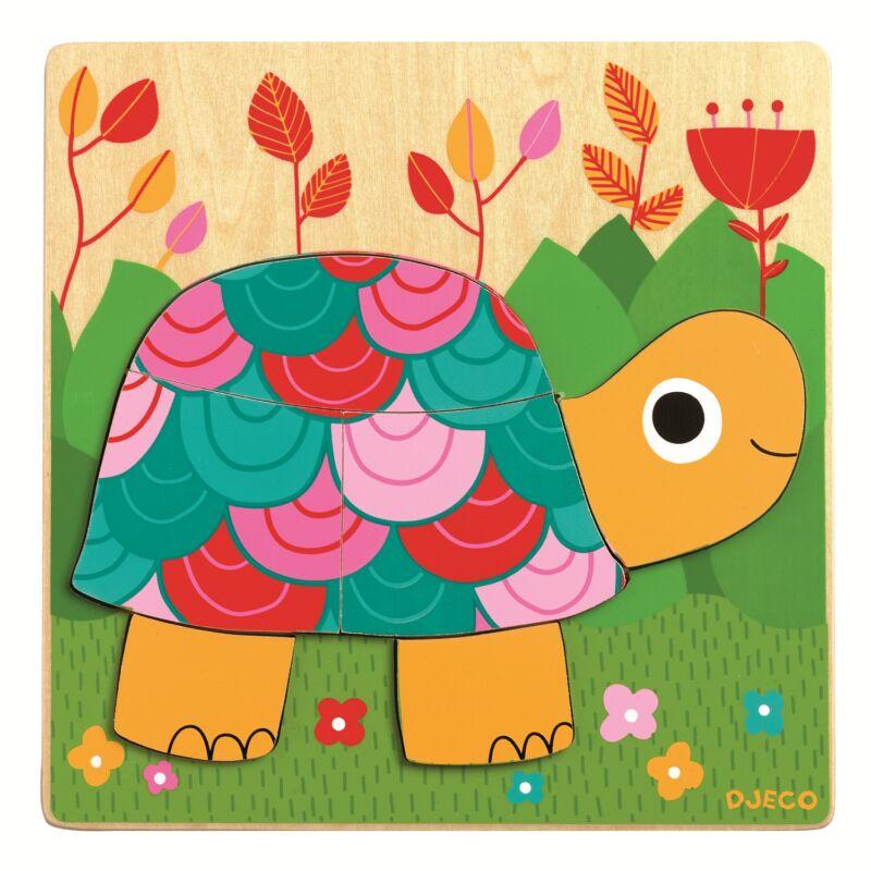 Színes teknőc kirakó - Djeco puzzle 2-4 éves korig