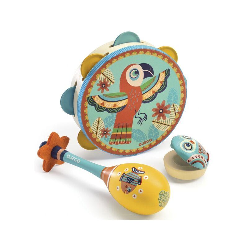 Játékhangszer készlet - Tambourine, maracas, castanet, Djeco hangszerek 3-6 éves korig