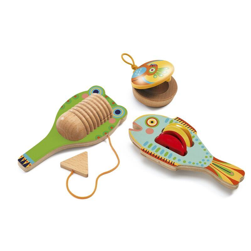 Játékhangszer készlet Cymbal-castanet-guiro, Djeco hangszerek 3-5 éves korig