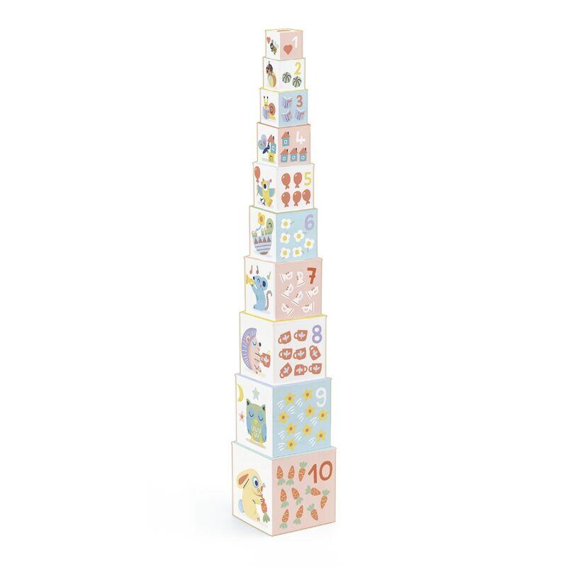 Toronyépítő kocka - Nyuszis, Djeco bébi építőjáték 1-2 éveseknek