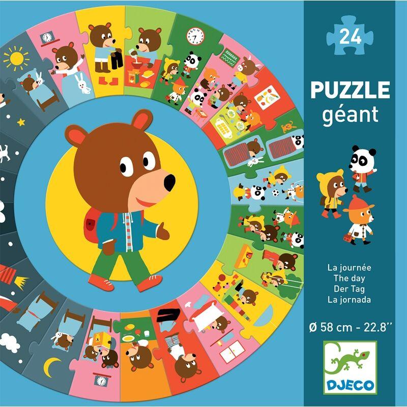 Óriás körpuzzle - Mackó egy napja - Djeco puzzle 3-6 éves korig