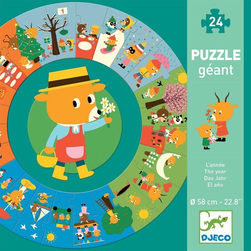 Óriás körpuzzle - Mackó egy éve, Djeco puzzle 3-6 éves korig