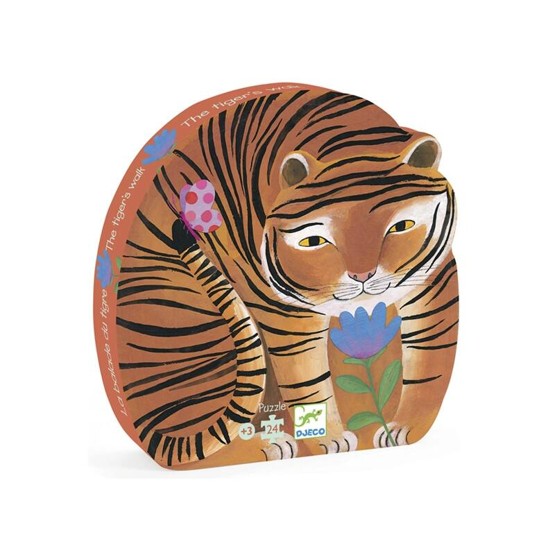 Formadobozos puzzle - A tigris sétája- Djeco puzzle 3-6 éveseknek
