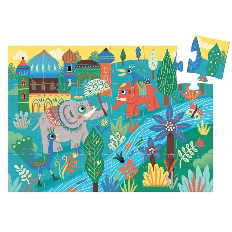 Formadobozos puzzle - Haathee és barátai, Djeco puzzle 3-6 éves korig