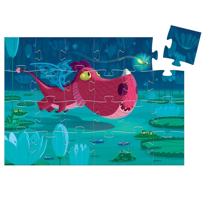 Formadobozos puzzle - Cuki sárkány, Djeco puzzle 3-6 éveseknek