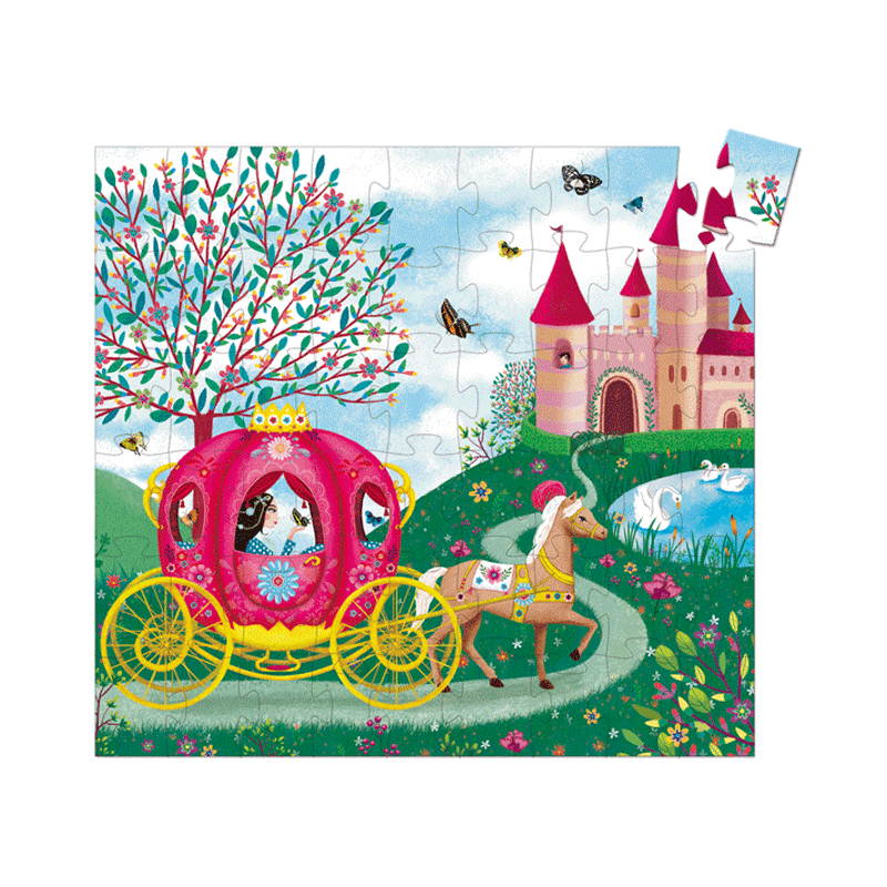 Formadobozos puzzle - Elise hintója, Djeco puzzle 5-10 éves korig