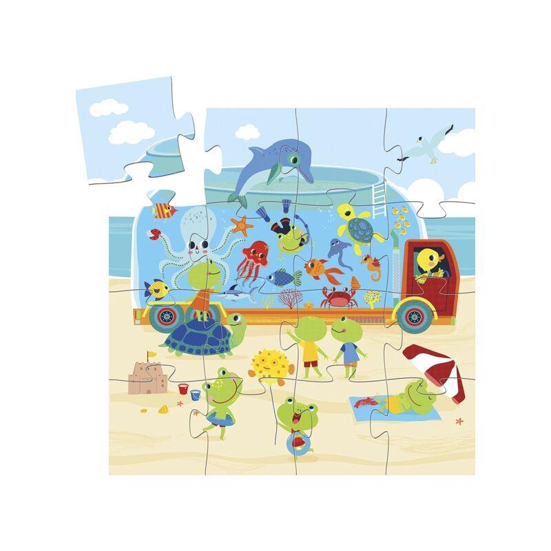 Mini puzzle - Mozgó akvárium - Djeco formadobozos puzzle 3 éves kortól