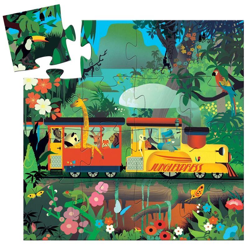 Formadobozos puzzle - Lokomotív- Djeco puzzle 3 éves kortól