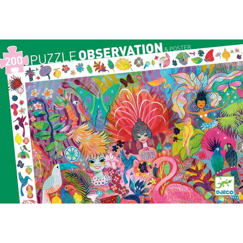 Megfigyeltető puzzle - Riói karnevál, 200 darabos - Djeco puzzle 6 éves kortól