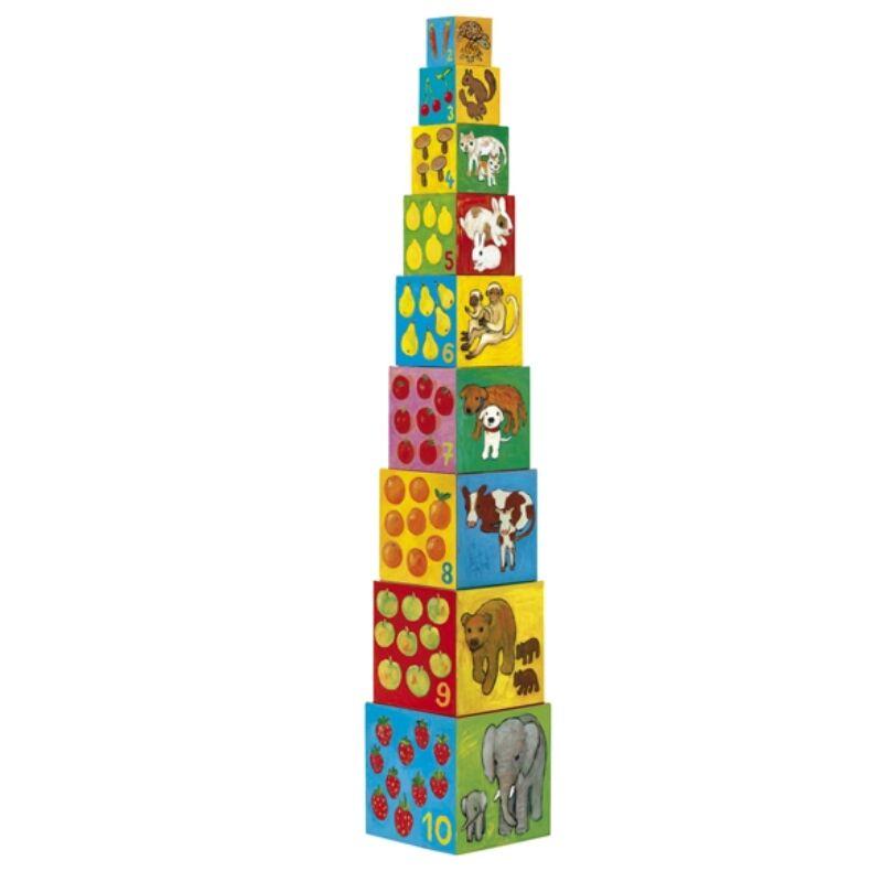 Toronyépítő kocka - Barátok, Djeco bébi építőjáték