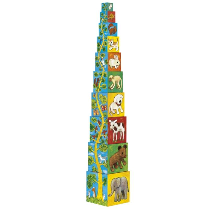 Toronyépítő kocka - Barátok, Djeco bébi építőjáték 1-2 éveseknek