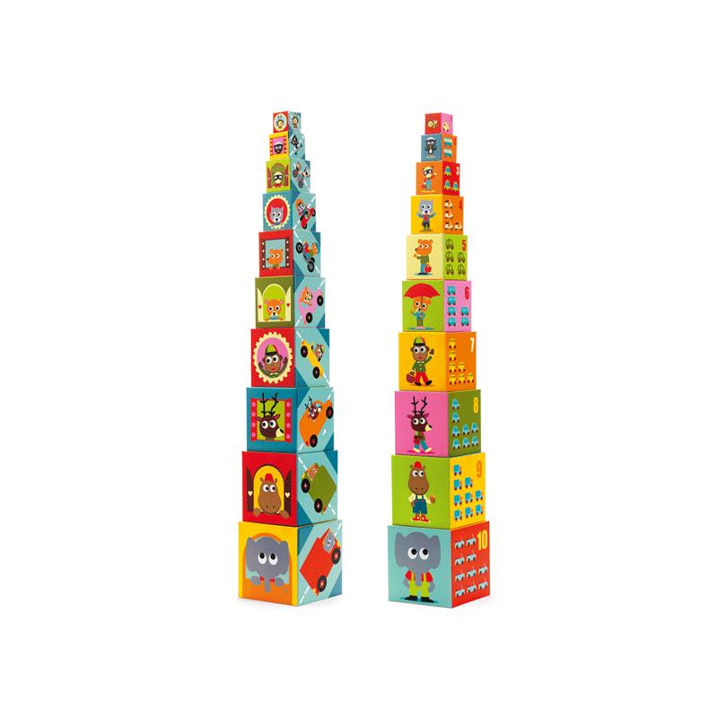 Toronyépítő kocka - Autók, Djeco bébi építőjáték