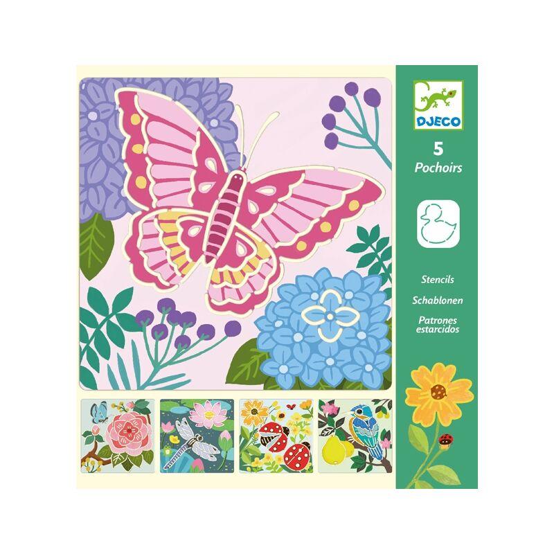 Rajzsablonok - Kerti szárnyak - Djeco kreatív készlet 3-6 éves korig