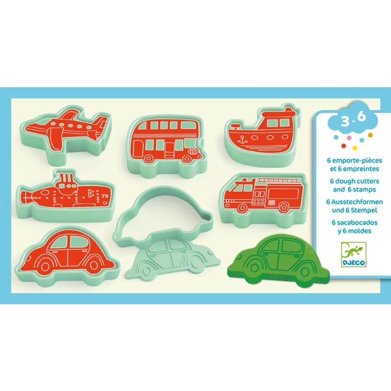 Gyurmaformázó készlet - Sütikiszúró - Járművek - Djeco kreatív készlet 3-6 éves korig
