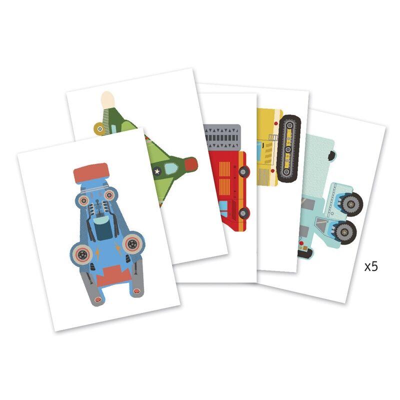 Síkból térbe formálás - Papírjárművek, Djeco Kreatív készlet 6 éves kortól