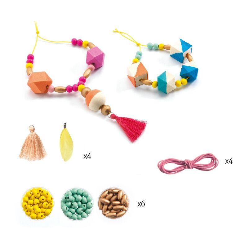 Gyöngyfűzés - Fagyöngyök és kockák - Djeco kreatív készlet 6 éves kortól