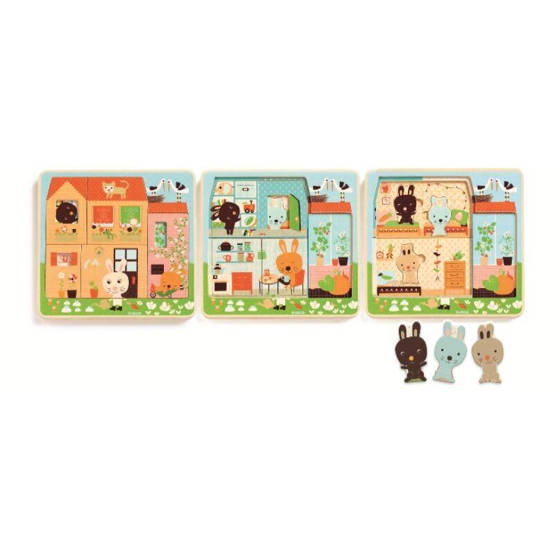 Háromrétegű puzzle -Nyuszi ház - Rabbit cottage- Djeco kirakó 2-5 éves korig