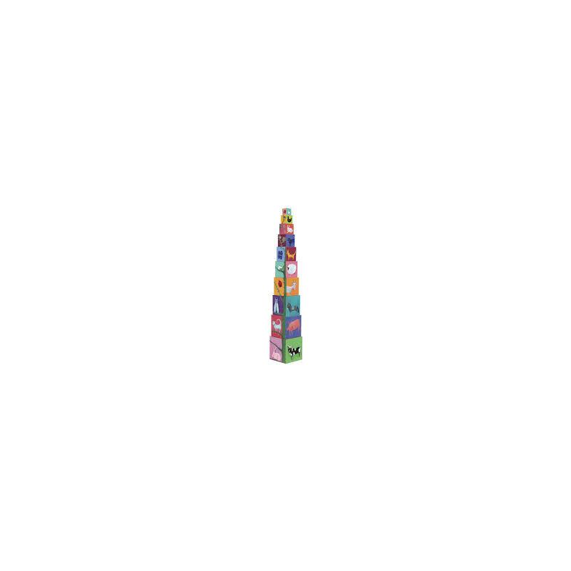 Toronyépítő kocka,természet, állatok, Djeco toronyépítő