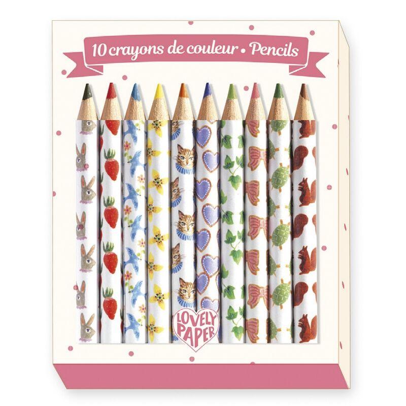 Mini színes ceruza, 10 szín, Djeco kreatív készlet 6 éves kortól
