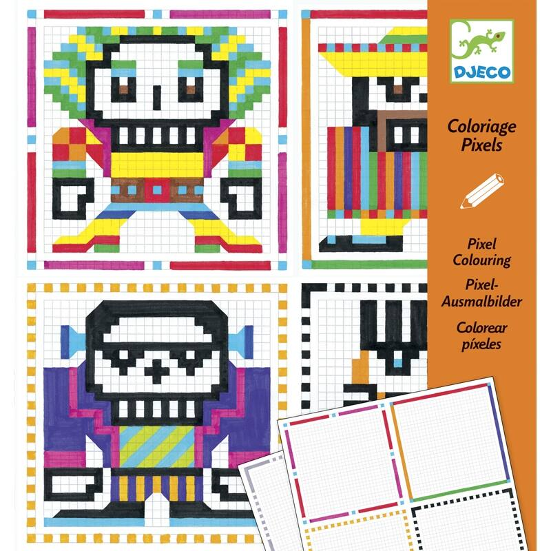 Pixel színező,fiúknak, Djeco kreatív készlet 7 éves kortól