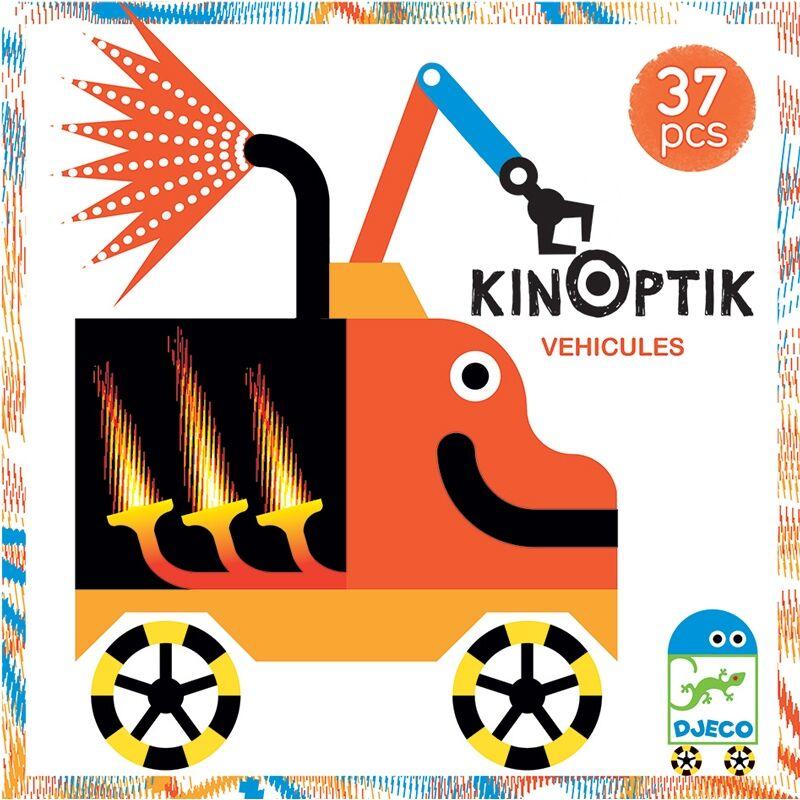 Optikai puzzle - Kinoptik Véhicles - Djeco puzzle 38 db-os, 5-8 éves korig