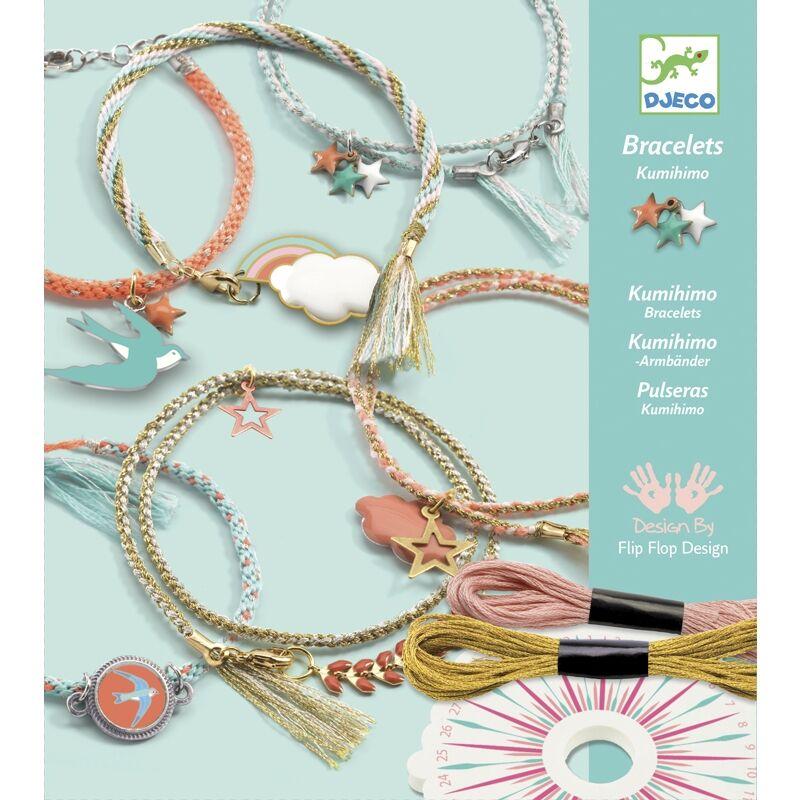 Ékszerkészítő készlet - Kumihimo karkötők, Djeco kreatív játék 6-11 éves korig
