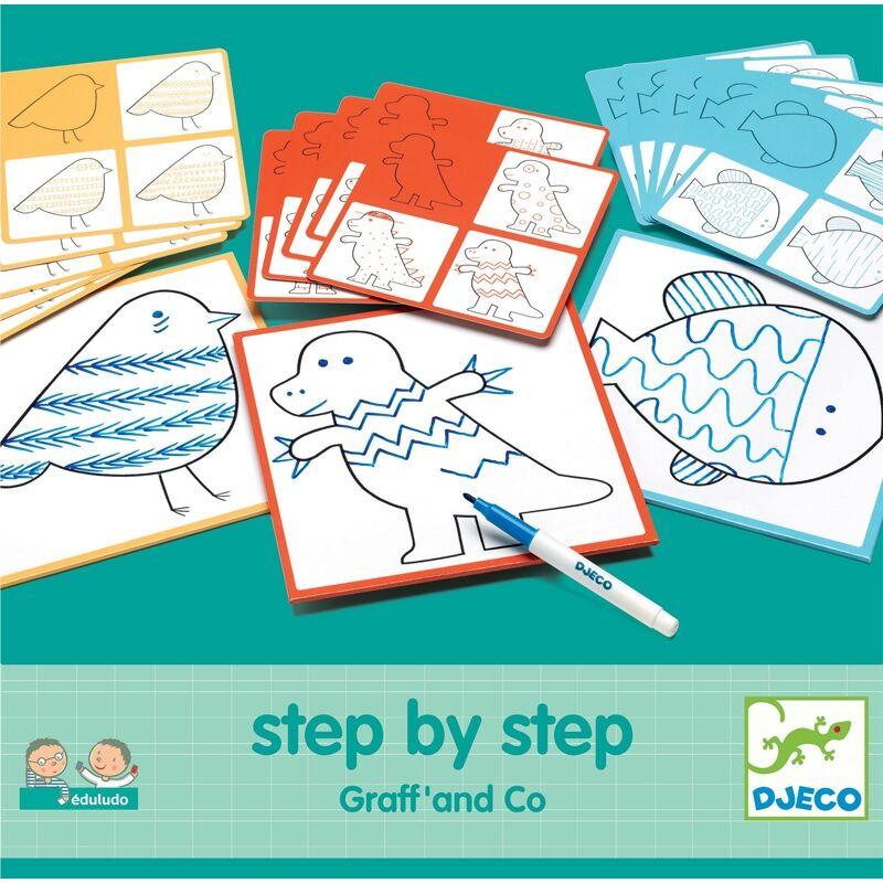 Rajzolás lépésről lépésre - Vonalvezetés - Step By Step Graff' and Co , Djeco kreatív készlet 3-6 éves korig