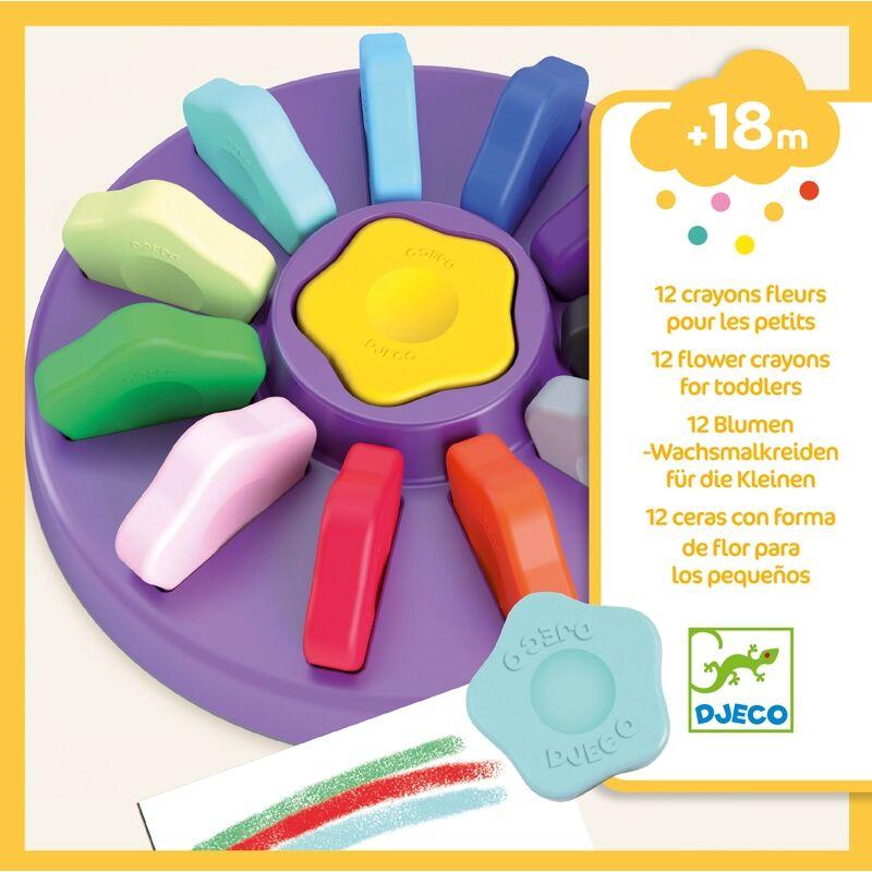 Marokkréta kicsiknek,12 színű vírág - 12 flower crayons for toddlers - Djeco kreatív