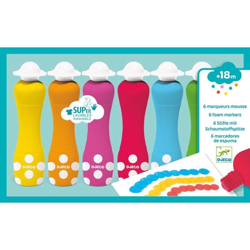 Marok filc 6 színben - Pontozó festés - 6 foam markers, Djeco Kreatív eszköz
