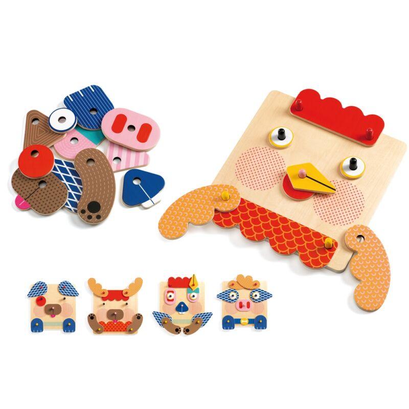 Szerelő játék - Tiki-taki arcocska - Djeco fejlesztő játék 2-4 éves korig
