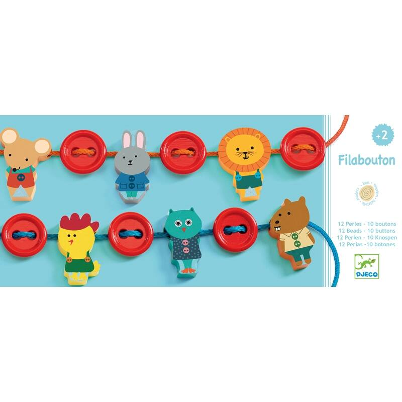 Fűzős játék - Mesés gombok, Djeco kreatív készlet , 2 éves kortól