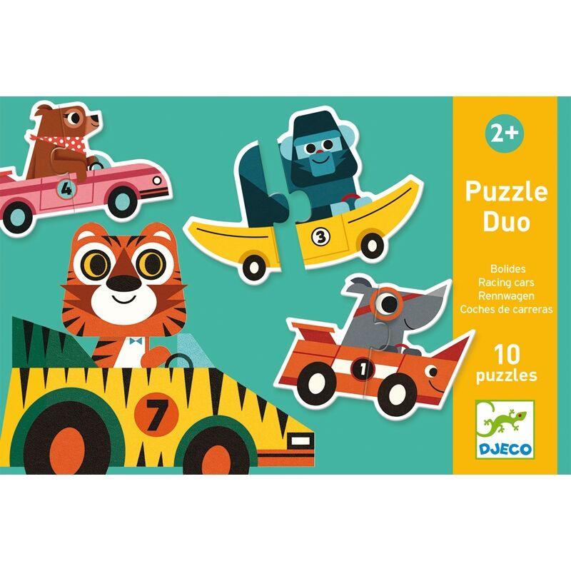 Párosító puzzle Versenyautók, Djeco 2 db-os kirakó (2-4 év)