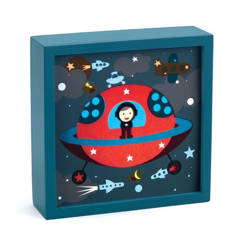 Jelzőfényes falikép - Űrhajó, Djeco dekoráció 1 éves kortól