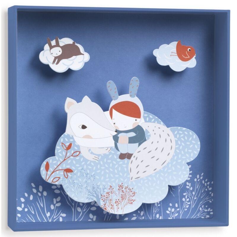3D-s falikép - Fehér róka, Djeco dekoráció 0-12 éves korig