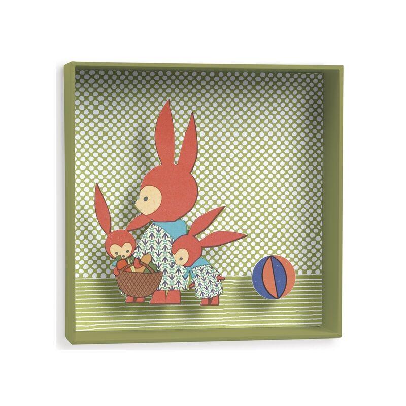 3D-s falikép - Nyuszika család, Djeco dekoráció 0-12 éves korig