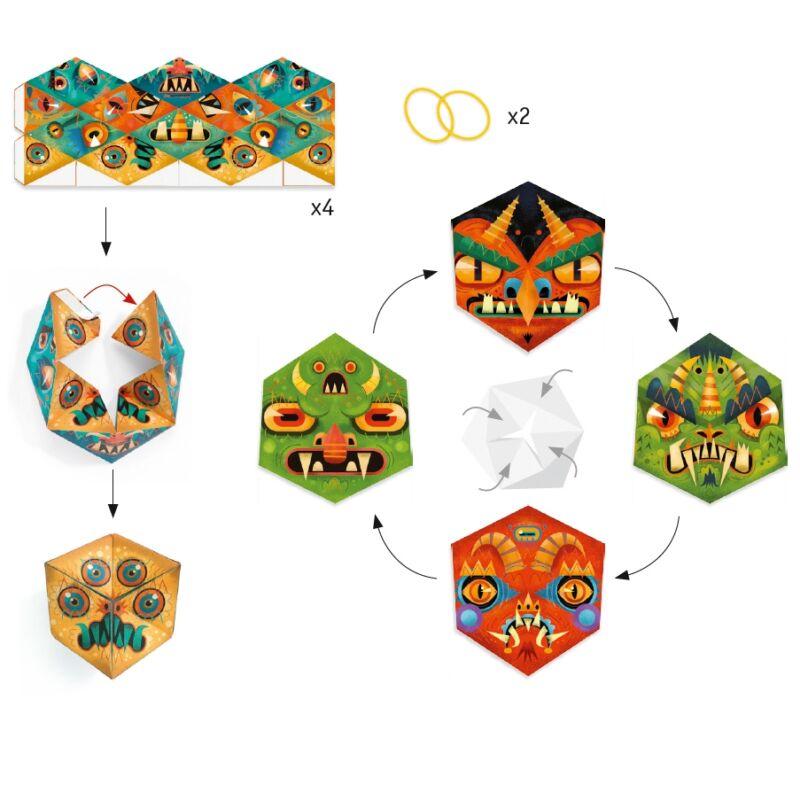 Origami - Flexmonsters, Djeco kreatív készlet 7 éves kortól