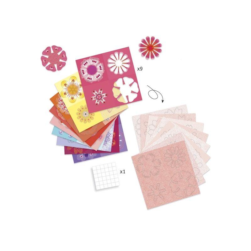 Hajtogató Papírvirág készítés,Origami - Djeco kreatív készlet 4-8 éves korig