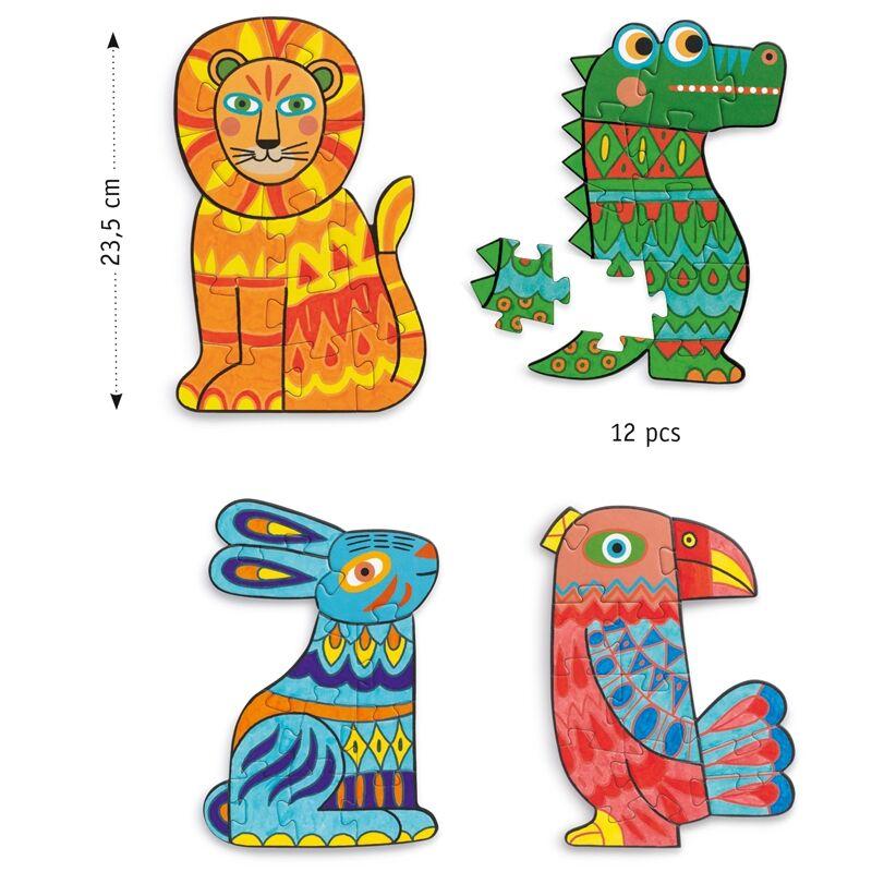 Animocolour - Állati színezhető kirakó - Djeco kreatív készlet 4 éves kortól