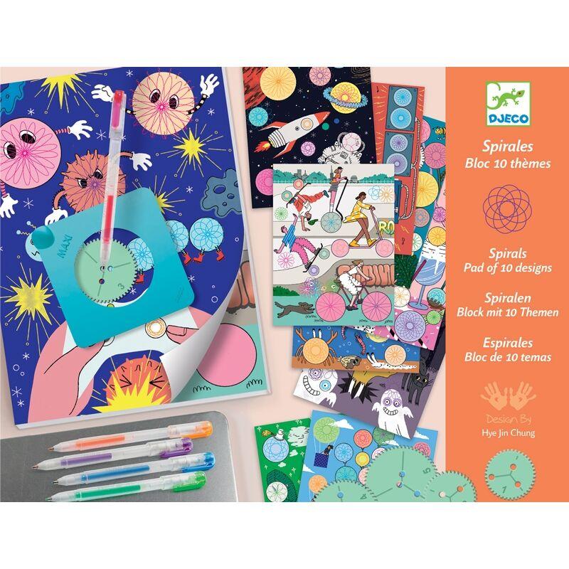 Spirals - 10 themes block - Djeco kreatív készlet 7 éves kortól