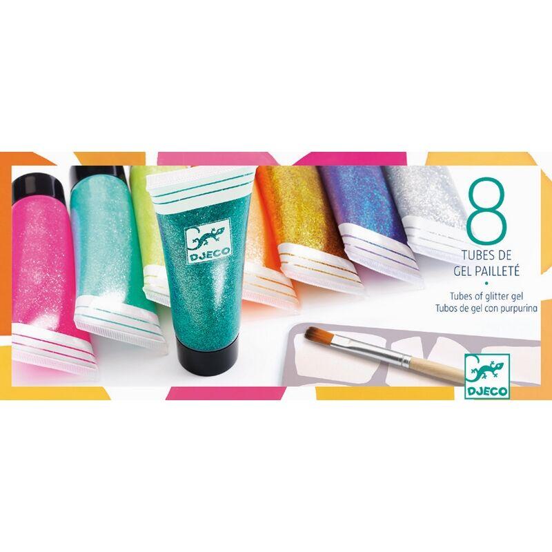 Csillámgél 8 színben - 8 tubes of glitter gel - Djeco kreatív készlet 6 éves kortól