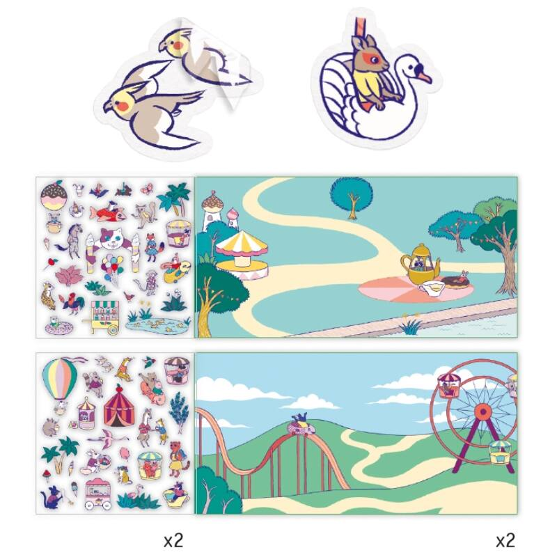 Matricás meseszövés Vidámpark, Djeco kreatív készlet 4-8 éves korig