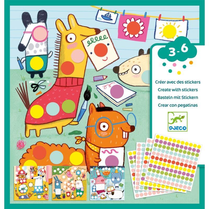 Kreatív matricázó -Színes pöttyök-  Djeco kreatív készlet 3-6 éves korig