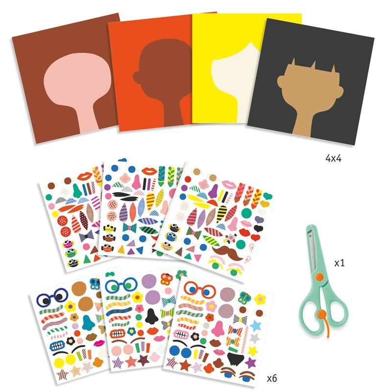 Kreatív matricázó - Mesterfodrász - Djeco kreatív készlet 3-6 éves korig