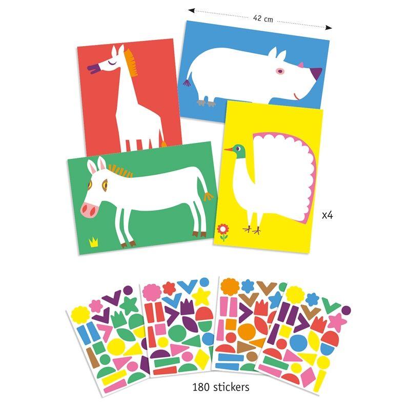 Kreatív matricázó - Nagy állatok - Djeco kreatív készlet 3-6 éves korig