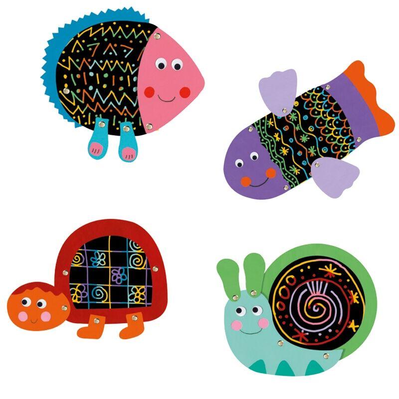 Karckép technika - Tréfás állatok - Djeco kreatív készlet 3-6 éveseknek