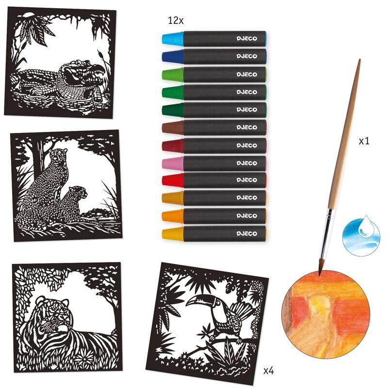 Akvarell kép készítés - Vadállatok - Djeco kreatív készlet 6 éves kortól