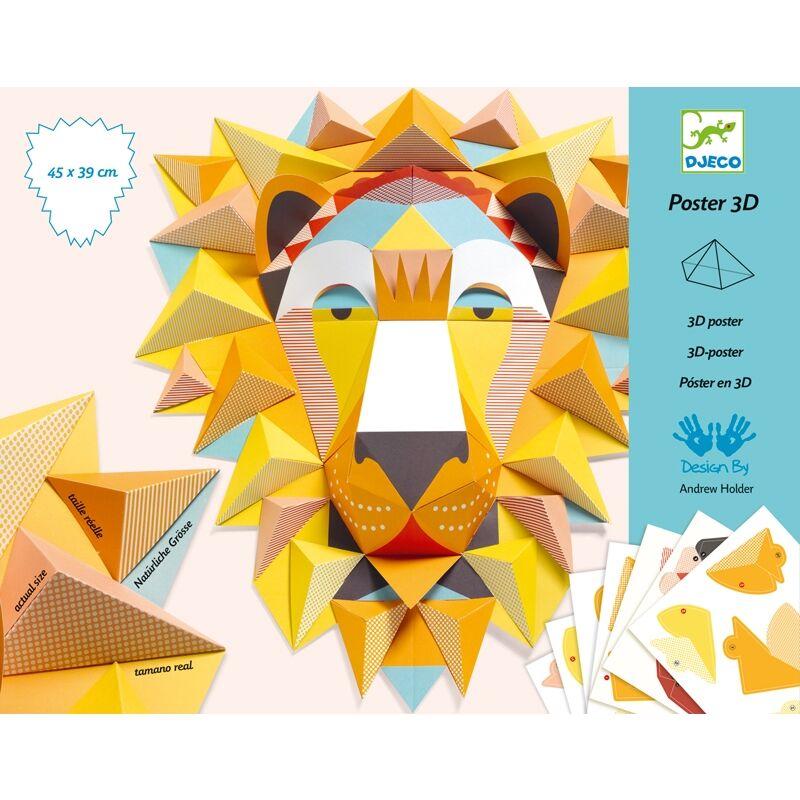 3D poszter készítés - Oroszlánkirály - Djeco kreatív készlet 8 éves kortól